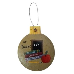 Holiday - Round Christmas #1 Teacher Rustic Ornament